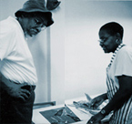 Charlotte Riley-Webb withTeacher and Master Printmaker John T. Scott at Tougaloo Art Colony
